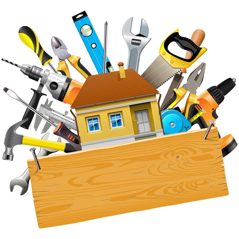 Vector Construction Tools with House stock illustration