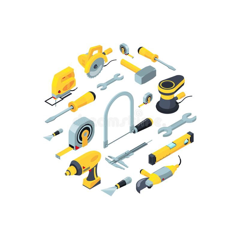 Vector construction tools isometric icons in circle shape illustration vector illustration