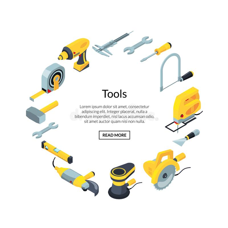 Vector construction tools isometric icons in circle stock illustration