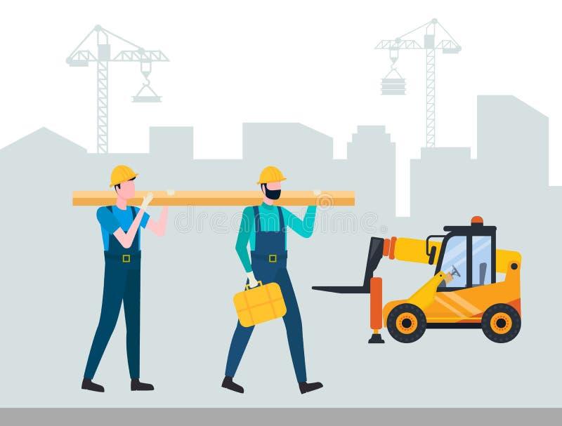 Vector constructivo del equipo, del contratista y de la carretilla elevadora stock de ilustración