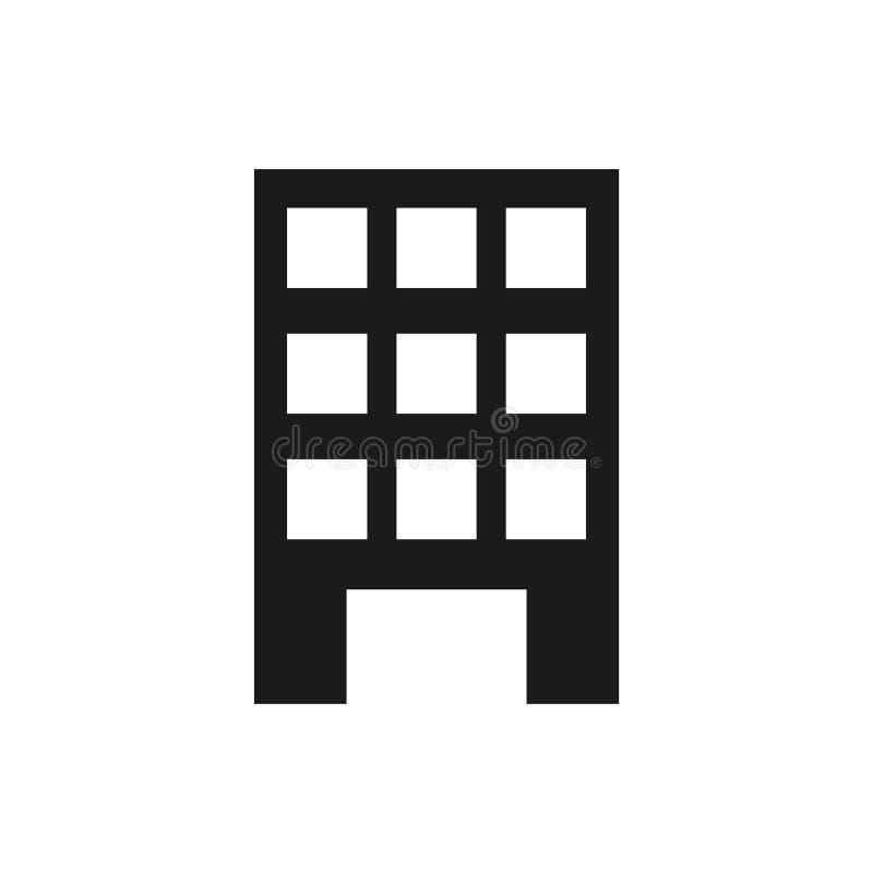 Vector constructivo negro eps10 del icono Icono constructivo con las ventanas Icono abierto constructivo de la puerta libre illustration