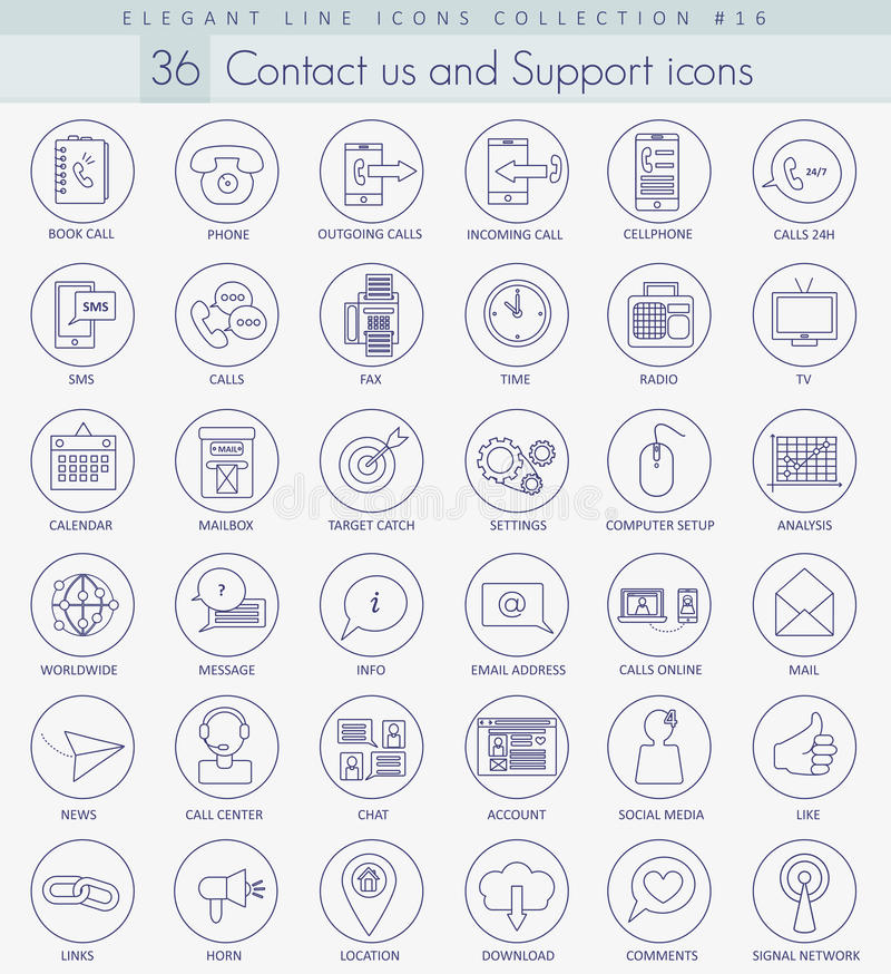 Vector contact us outline icon set. Elegant thin line style design stock illustration