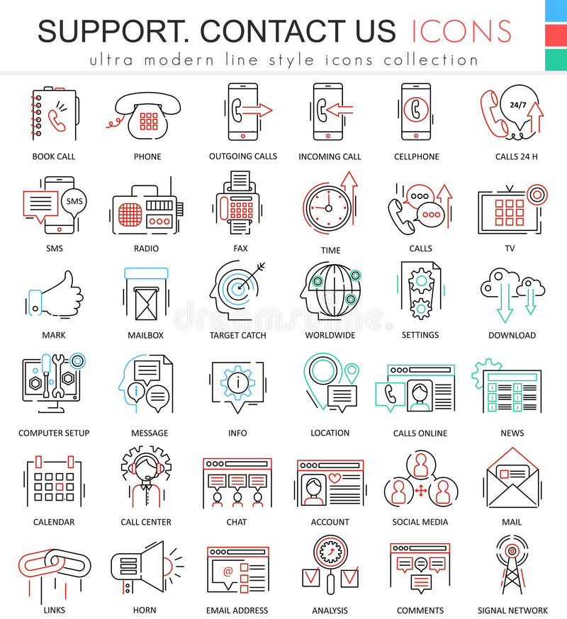 Vector contact us support modern color flat line outline icons for apps and web design. Vector contact us support modern color flat line outline icons for apps stock illustration