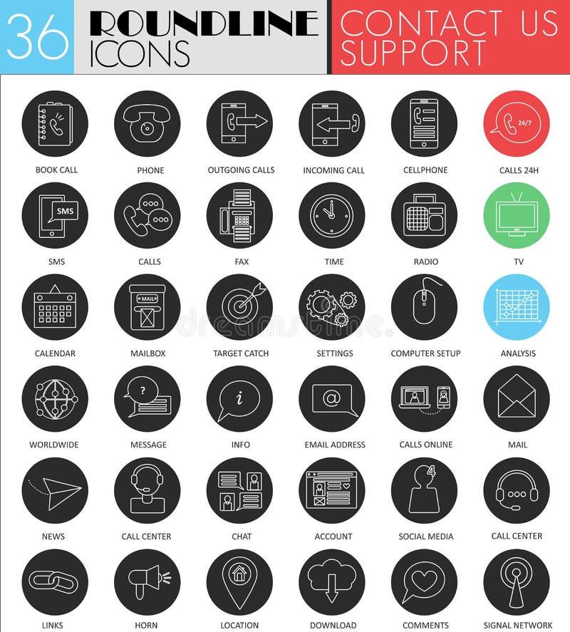 Vector contacteer ons reeks van het cirkel de witte zwarte pictogram Modern het pictogramontwerp van de lijn zwart steun voor Web royalty-vrije illustratie