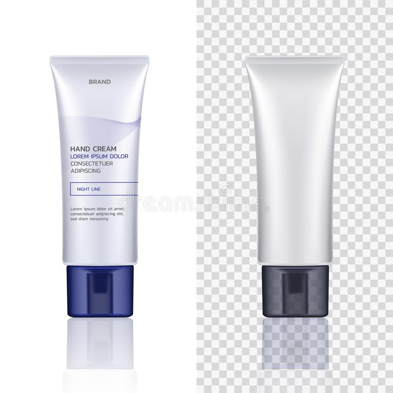 Vector container, tube for cosmetic products isolated on white and transparent background. Empty mock up. Skin care stock illustration
