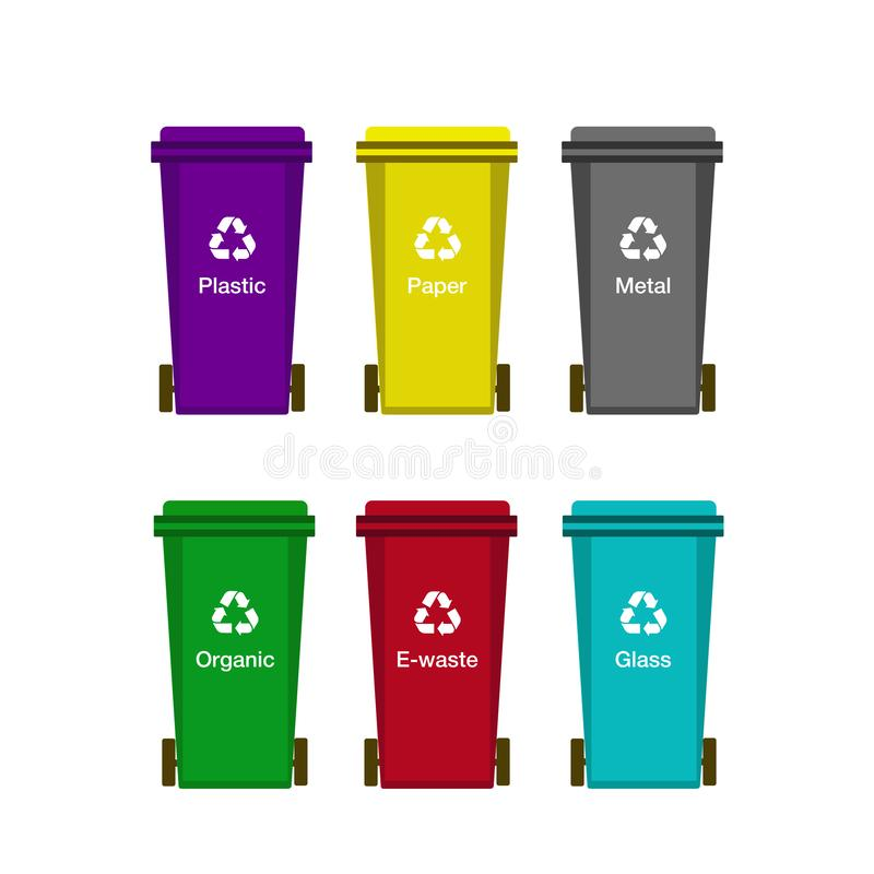 Vector containers for sorting waste. stock image