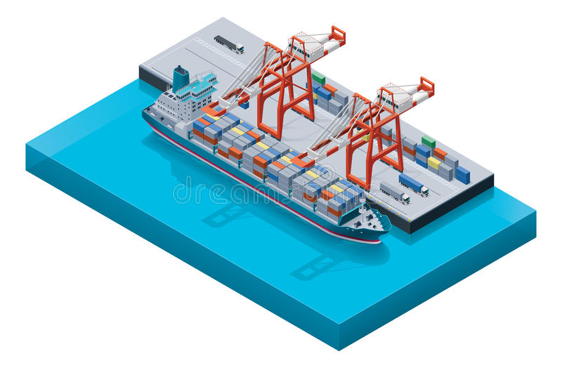 Vector containerschip met kranen stock illustratie