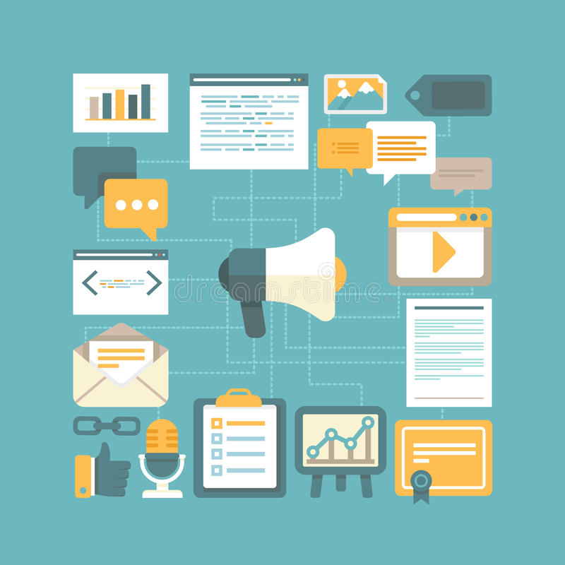 Vector content marketing concept royalty free illustration