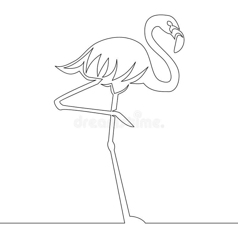 Vector continuo del dibujo lineal del flamenco libre illustration