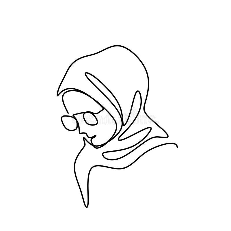 Vector continuo del ejemplo del dibujo lineal del pañuelo de la muchacha impresionante y bonita del hijab que lleva un aislado en stock de ilustración