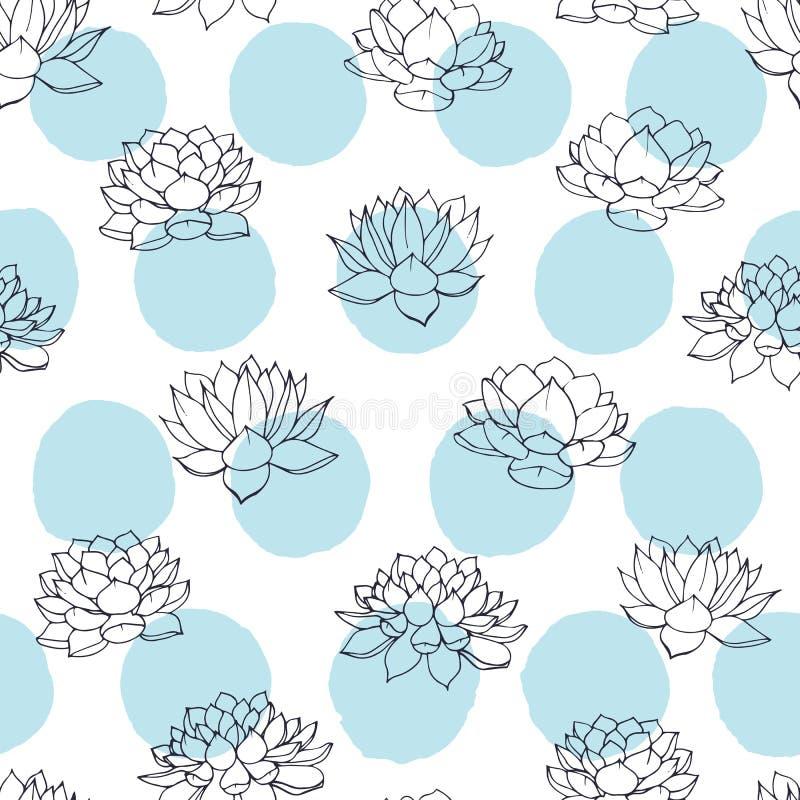 Vector contornos dos lírios com teste padrão sem emenda dos círculos do azul no fundo branco Design floral do vintage ilustração do vetor