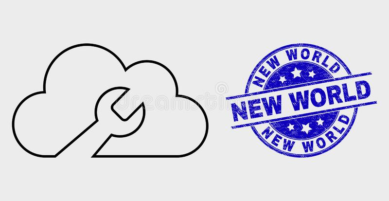 Vector Linear Cloud Wrench Icon and Grunge New World Seal royalty free illustration
