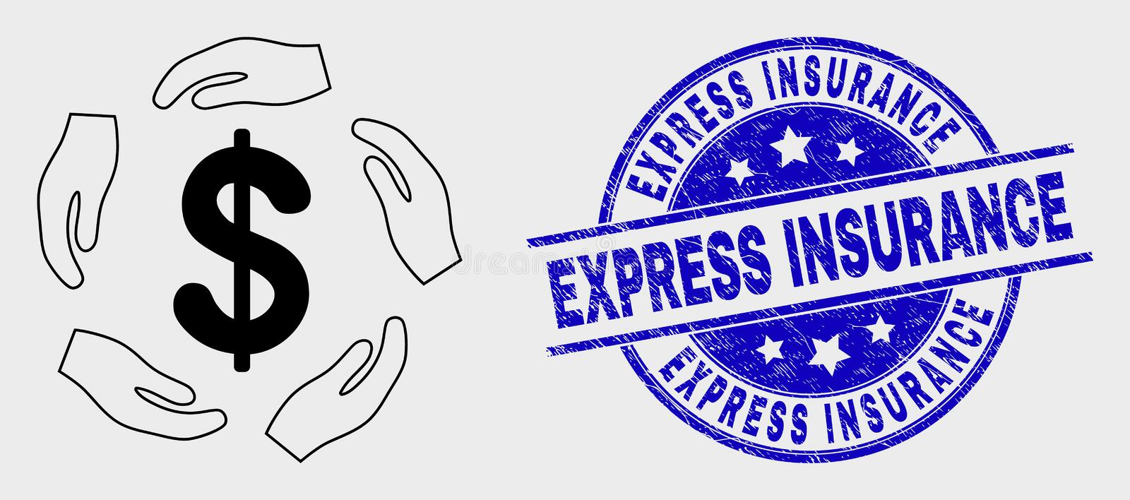 Vector Contour Dollar Care Hands Icon and Scratched Express Insurance Stamp Seal. Vector contour dollar care hands pictogram and Express Insurance seal stamp vector illustration