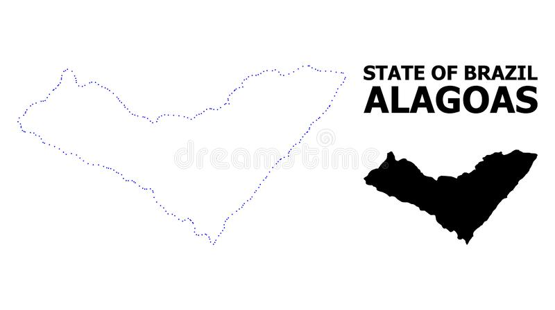 Vector Contour Dotted Map of Alagoas State with Name. Vector contour Map of Alagoas State with caption. Map of Alagoas State is isolated on a white background stock illustration