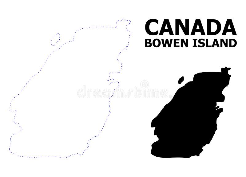 Vector Contour Dotted Map of Bowen Island with Name. Vector contour Map of Bowen Island with caption. Map of Bowen Island is isolated on a white background vector illustration