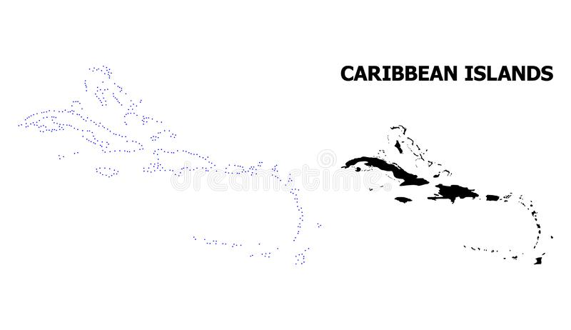 Vector Contour Dotted Map of Caribbean Islands with Name royalty free illustration