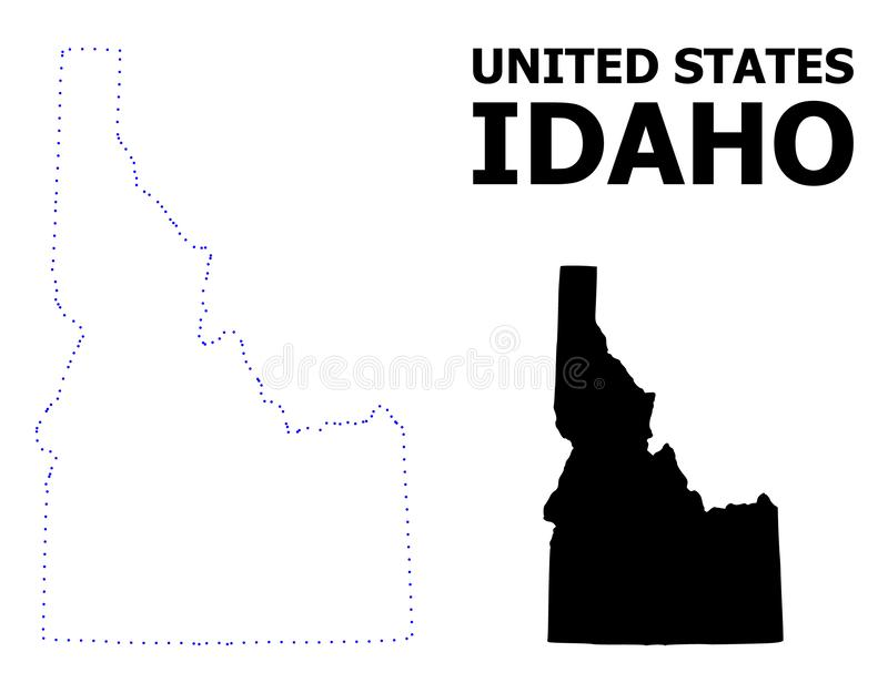 Vector Contour Dotted Map of Idaho State with Name. Vector contour Map of Idaho State with caption. Map of Idaho State is isolated on a white background. Simple royalty free illustration
