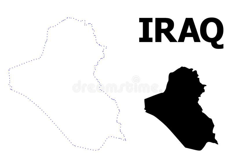 Vector Contour Dotted Map of Iraq with Caption vector illustration