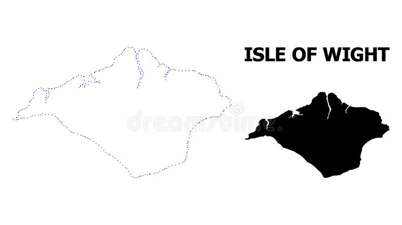 Vector Contour Dotted Map of Isle of Wight with Caption. Vector contour Map of Isle of Wight with title. Map of Isle of Wight is isolated on a white background vector illustration