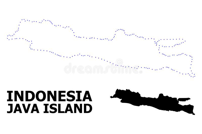 Vector Contour Dotted Map of Java Island with Name. Vector contour Map of Java Island with name. Map of Java Island is isolated on a white background. Simple royalty free illustration