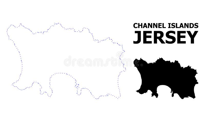 Vector Contour Dotted Map of Jersey Island with Caption vector illustration