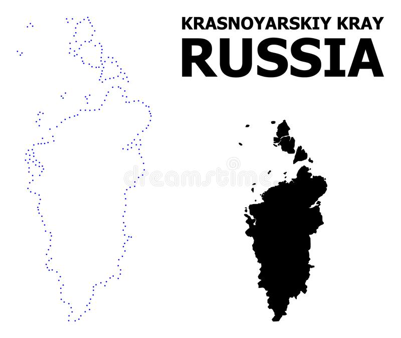 Vector Contour Dotted Map of Krasnoyarskiy Kray with Caption vector illustration