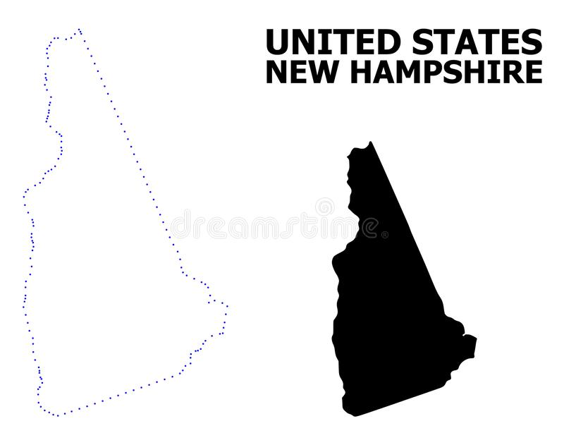 Vector Contour Dotted Map of New Hampshire State with Caption royalty free illustration