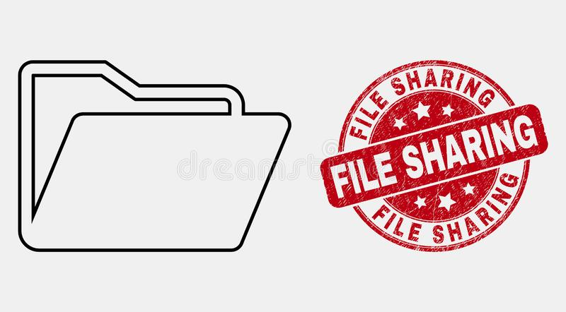 Vector Stroke Folder Icon and Scratched File Sharing Stamp vector illustration