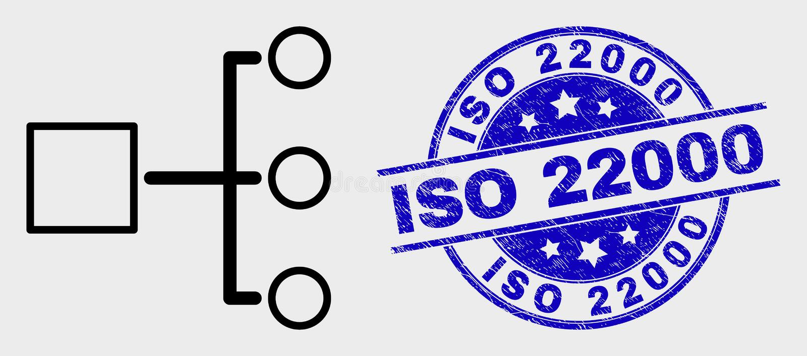 Vector Line Hierarchy Icon and Scratched ISO 22000 Stamp. Vector contour hierarchy icon and ISO 22000 seal. Blue round scratched seal stamp with ISO 22000 text vector illustration