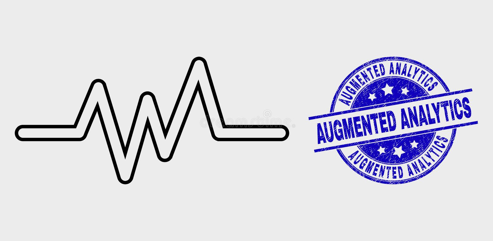Vector Linear Pulse Signal Icon and Scratched Augmented Analytics Watermark vector illustration