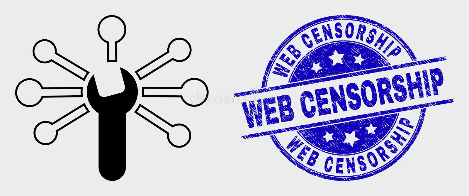 Vector Line Wrench Links Icon and Distress Web Censorship Stamp Seal. Vector contour wrench links icon and Web Censorship seal. Blue rounded scratched stamp with stock illustration