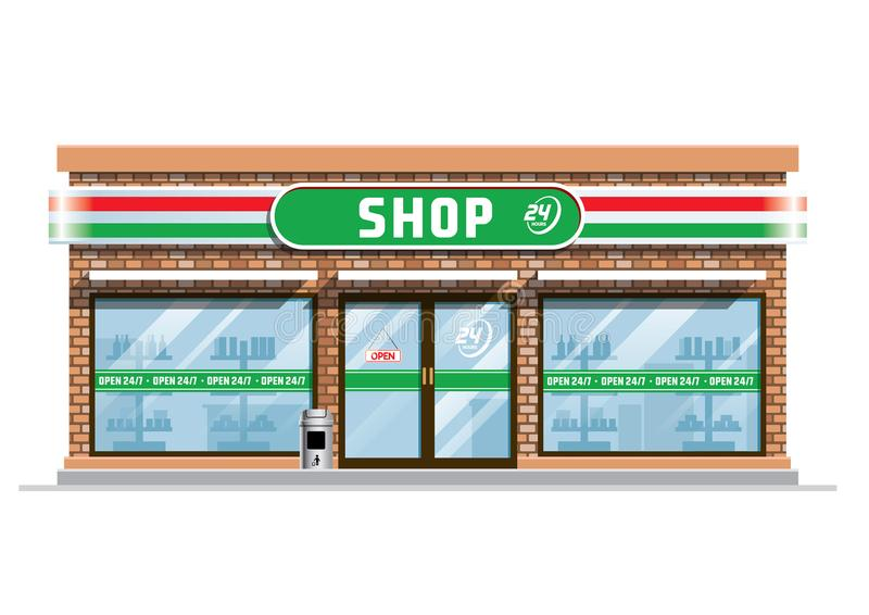 Convenience store building vector illustration
