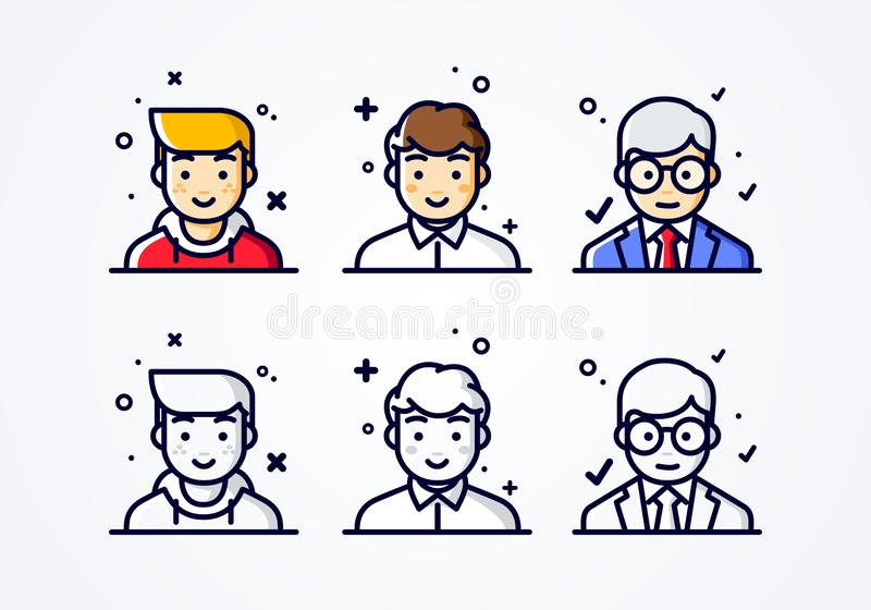Vector linear flat people faces icon set. Social media avatar, user pic and profil. user experience concept different male smiley royalty free illustration