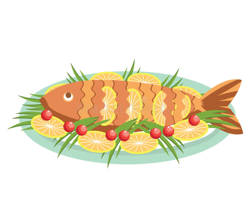 Vector Cooked Fish With Lemons .Vector Food Isolat Stock ...