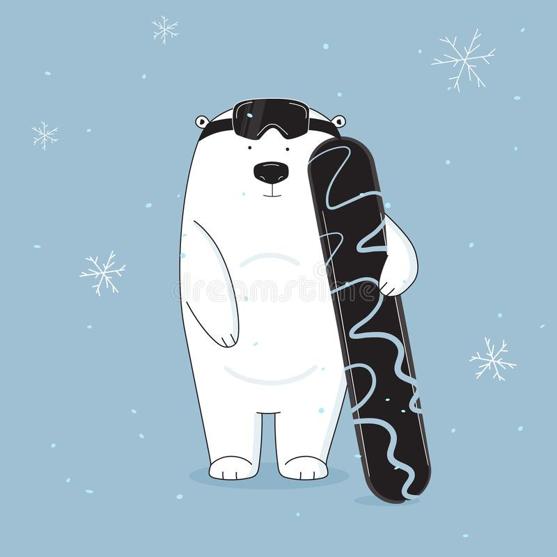Vector cool and cute bear on snowboard illustration. Hand drawn animal cartoon banner. Baby winter holidays greeting stock illustration