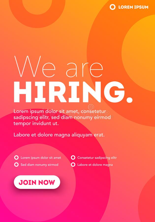 Vector We Are Hiring Typography Poster Concept Template With Text Box Design And Join Us Button stock illustration