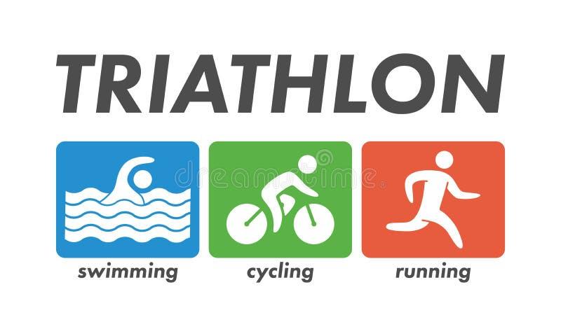 Vector cool logo for triathlon. vector illustration