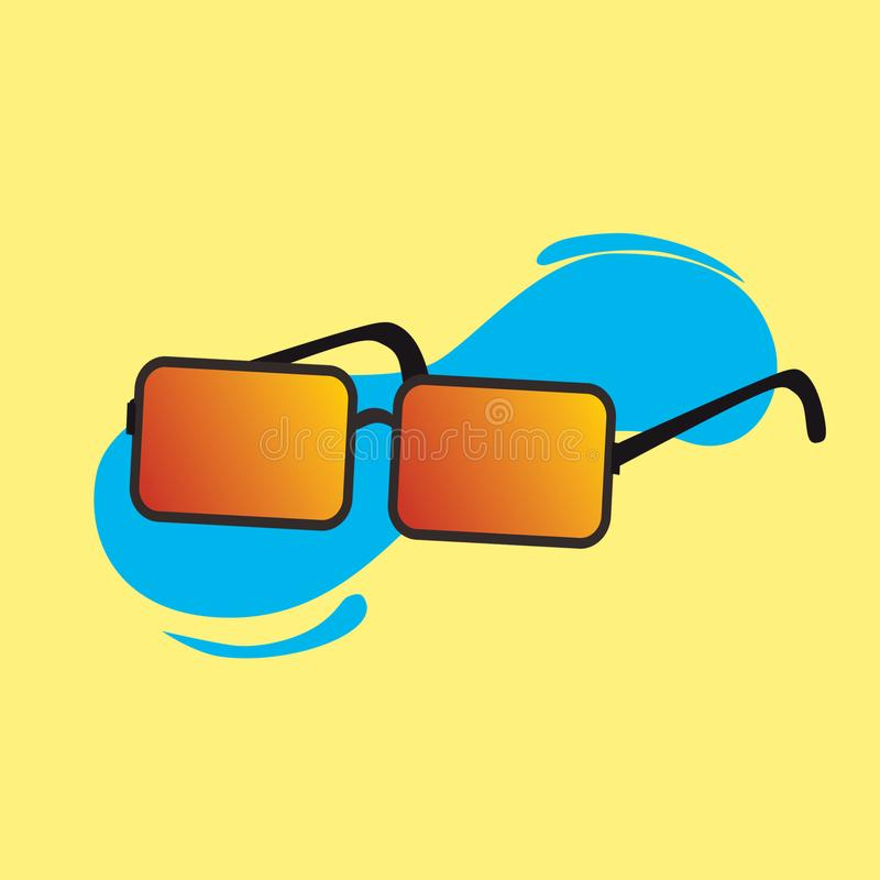 Vector of cool sun glasses with yellow background royalty free illustration