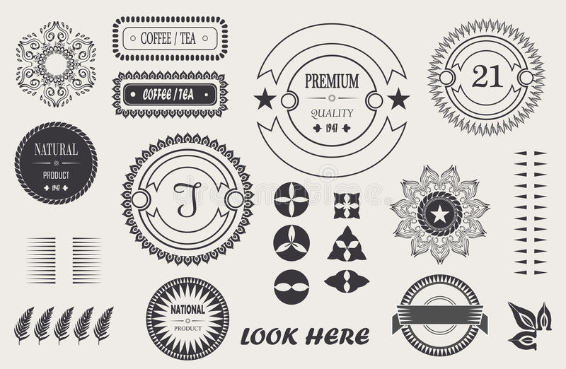 Vector cool vintage elements for your design, baroque frame, logo, labels, frames with signature. royalty free illustration