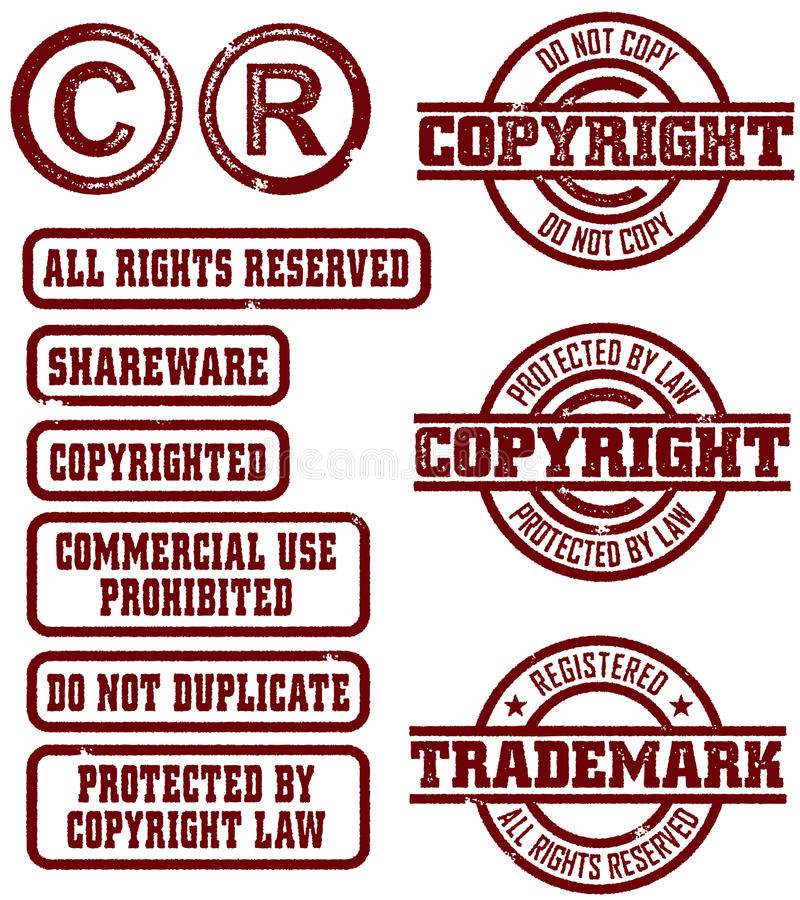 Vector Copyright Trademark Stamps stock illustration