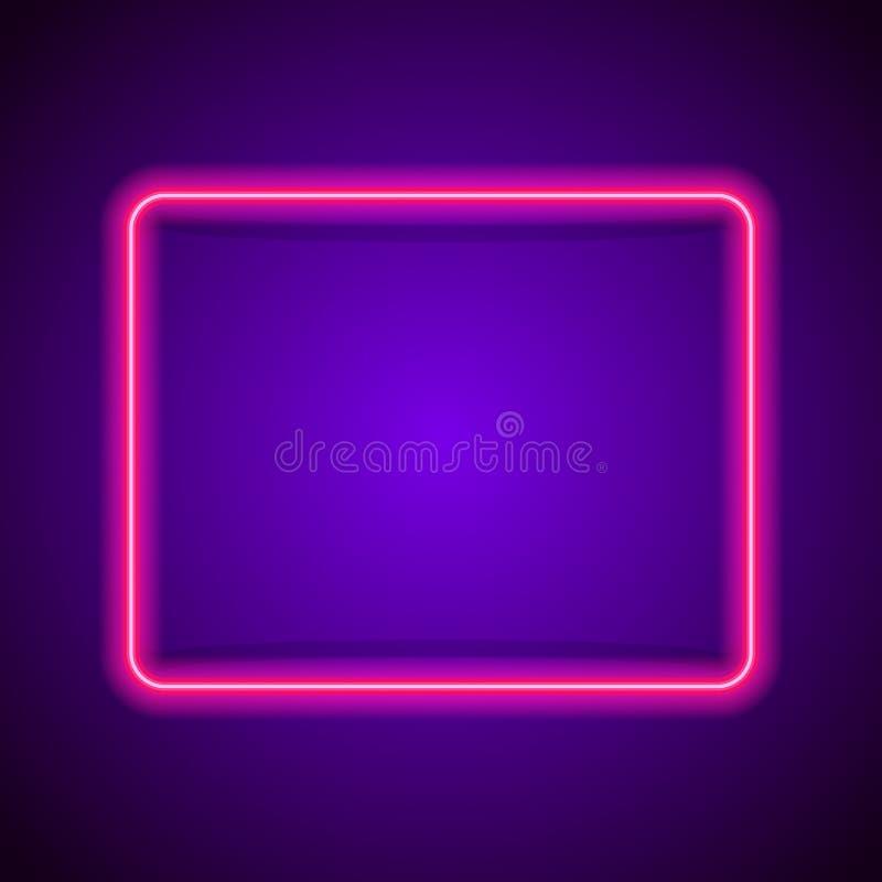 Vector a cor de néon do rosa do quadro no fundo roxo para o café, bandeira ilustração stock