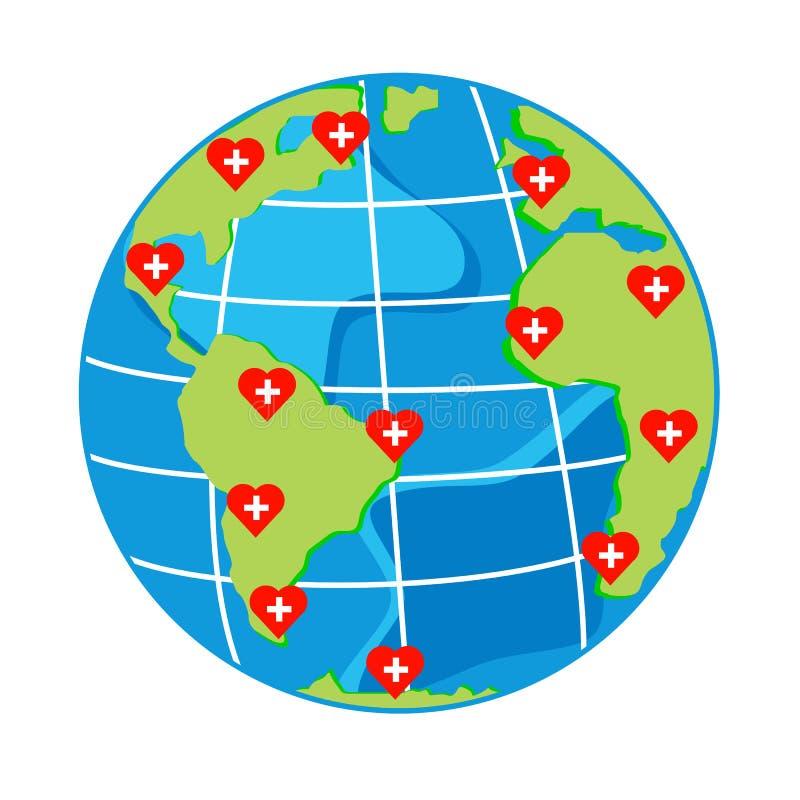 Vector corações vermelhos com cruz no globo do mapa para o dia da saúde ilustração do vetor