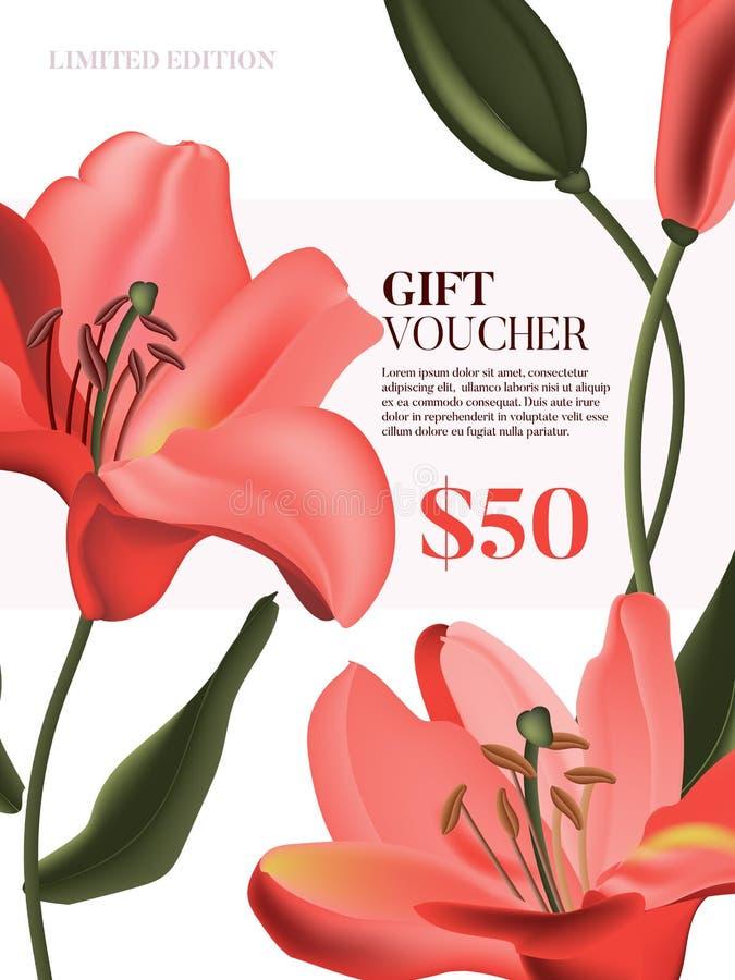 Vector coral Lily advertising voucher Tessera regalo floreale, modello di invito per matrimonio, design rosso fiore, festività pr illustrazione vettoriale
