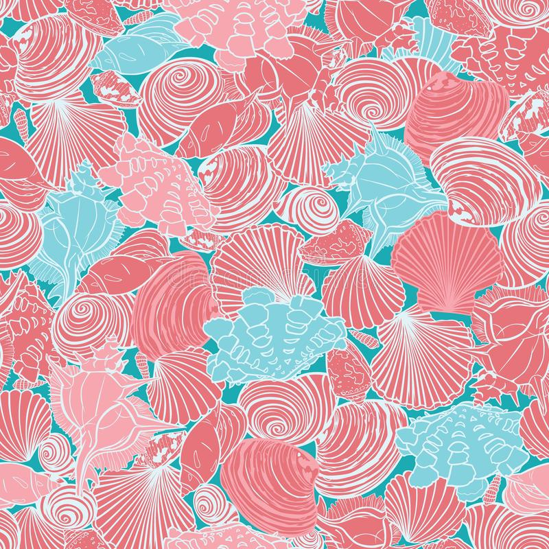 Vector coral pink and blue repeat pattern with variety of overlaping seashells. Perfect for fabric, scrapbooking vector illustration