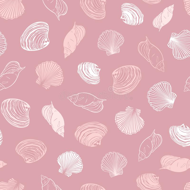 Vector coral pink repeat pattern with variety of seashells. Perfect for greetings, invitations, wrapping paper, textile vector illustration