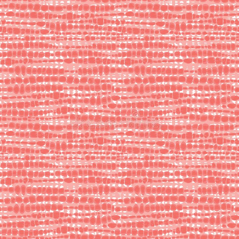 Vector coral pink seamless fabric texture. Canvas for embroidery. Suitable for textile, gift wrap and wallpaper stock photos