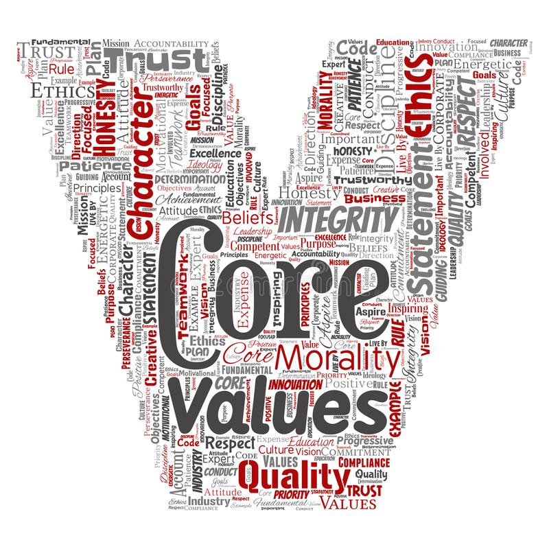 Vector core values integrity ethics letter font V. Vector conceptual core values integrity ethics letter font V concept word cloud isolated background. Collage vector illustration