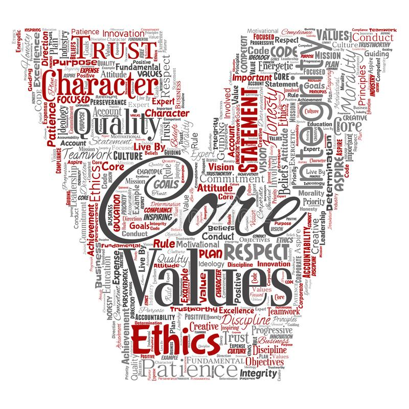 Vector core values integrity ethics letter font V. Vector conceptual core values integrity ethics letter font V concept word cloud isolated background. Collage stock illustration