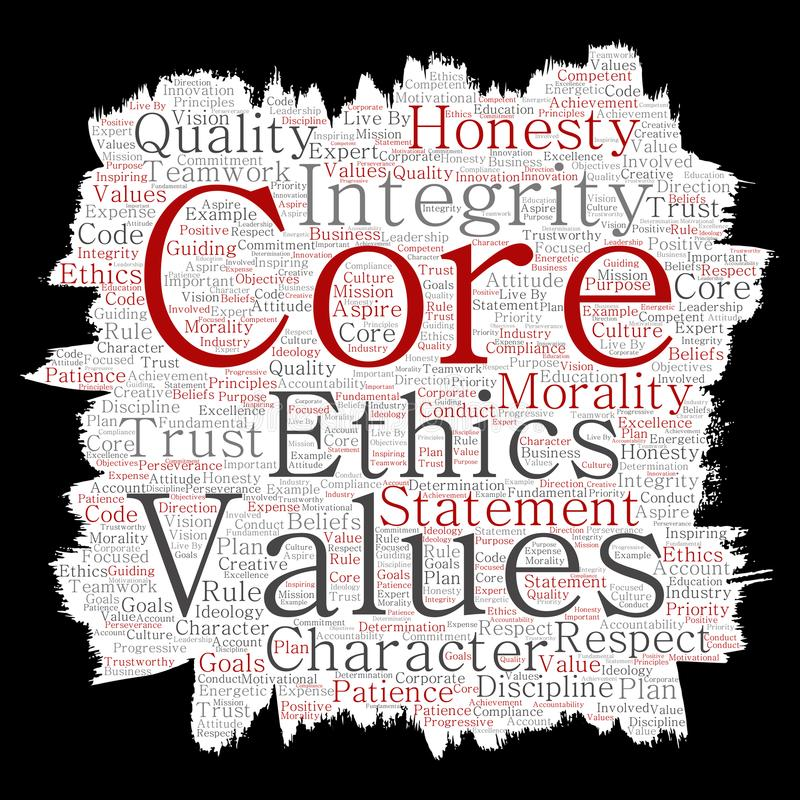 Vector core values integrity ethics paint brush paper. Vector conceptual core values integrity ethics paint brush paper concept word cloud isolated background royalty free illustration