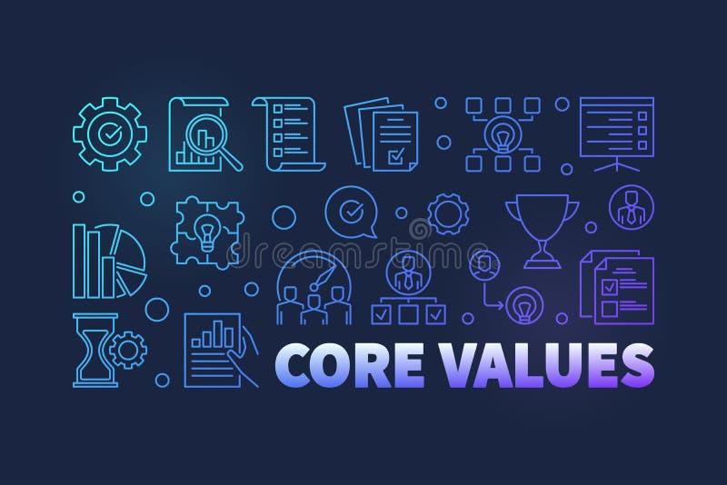 Vector Core Values outline modern banner on dark background stock illustration
